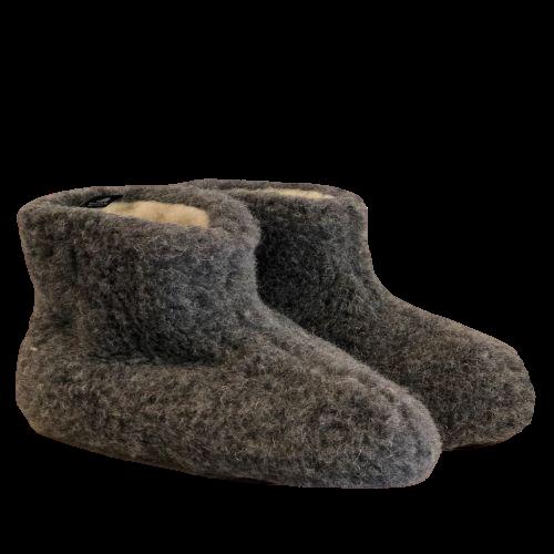 sloffen hoog grijs 100� wol